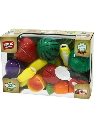Birlik Oyuncak Birlik Oyuncak Kesilebilen Meyve Sebze Kesme Evcilik Seti 22Parça Renkli